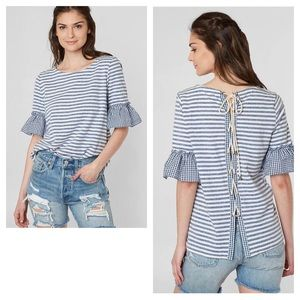 Doe & Rae Gingham Lace Up Back Striped Top